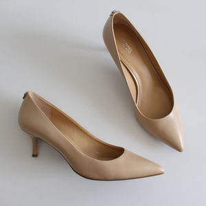MICHAEL KORS Kitten Heel Nude Leather Pumps